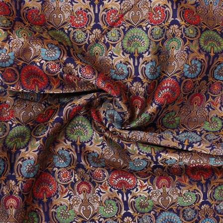 Blue Green Red and Yellow Floral Banarasi Silk Fabric-9324
