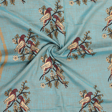 Blue-Green and Brown Bird Jam Cotton Silk Fabric-75170