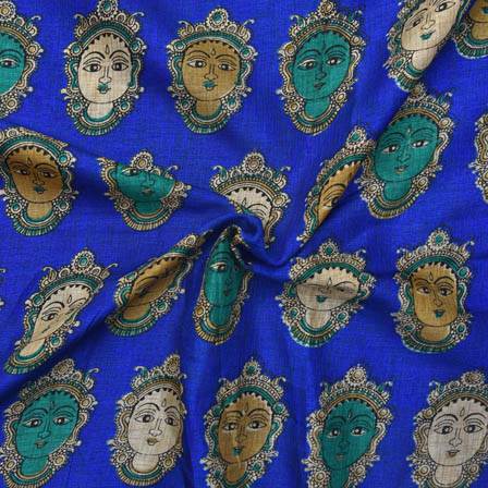 Blue-Green and Cream Durga Devi Face Design Kalamkari Manipuri Silk-16046