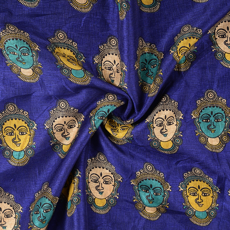 Blue-Green and Cream Durga Devi Kalamkari Manipuri Silk Fabric-16289