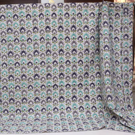 Blue-Green and Cream Indian Handmade Kantha Quilt-4380