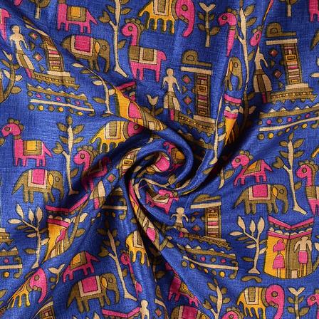 Blue-Green and Cream Kalamkari Manipuri Silk Fabric-16292