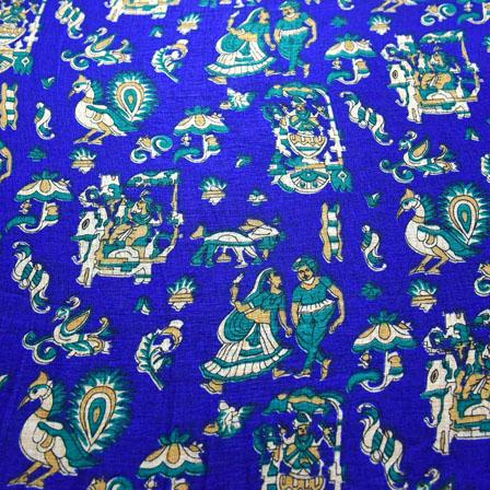 Blue-Green and Cream Warli Design Kalamkari Manipuri Silk-16146