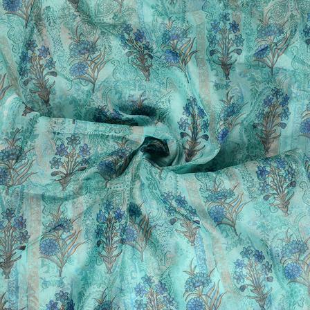 Blue-Green and Golden Flower Organza Foil Print Fabric-51310