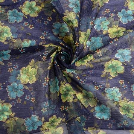 Blue-Green and Golden Flower Organza Print Fabric-51279