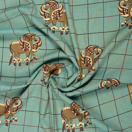 Blue-Green and Golden Rayon Slub Fabric-75091