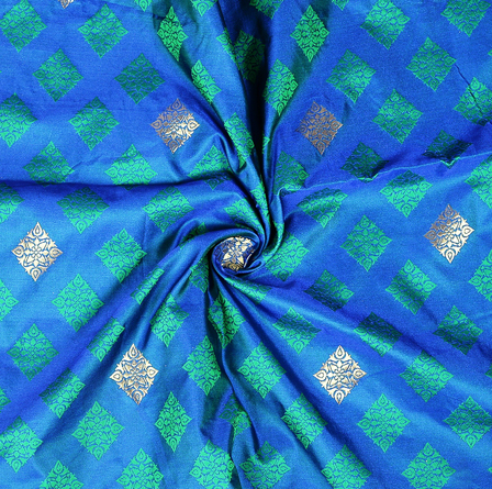 Blue-Green and Golden Square Design Two Tone Banarasi Silk Fabric-8415