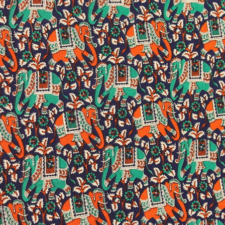 Blue-Green and Orange Elephant Design Kalamkari Cotton Fabric-10053