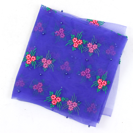 Blue-Green and Pink Floral Design Embroidery Net Fabric-60103