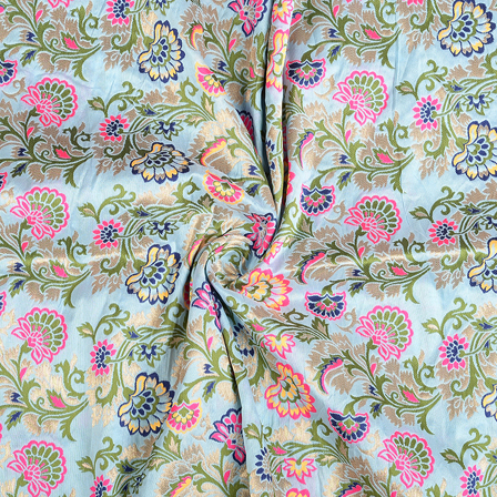 Blue-Green and Pink Floral Silk Digital Brocade Fabric-8391