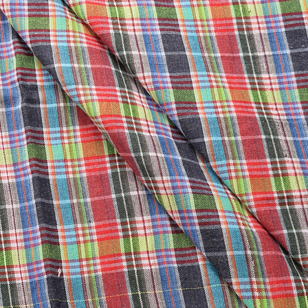 Blue-Green and Red Checks Design Cotton Handloom Khadi Fabric-40169