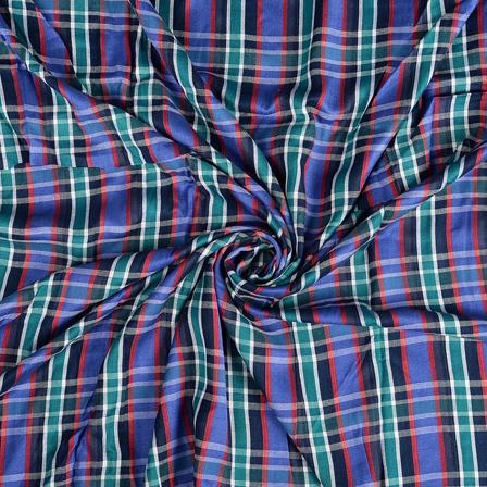 Blue-Green and Red Checks Rayon Shirt Fabric-40238