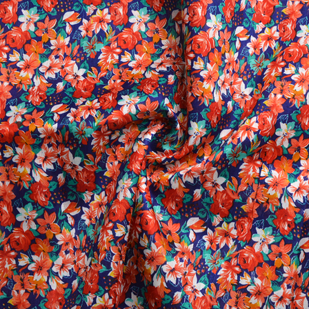 Blue-Green and Red Flower Design Banglori Silk Fabric-4899