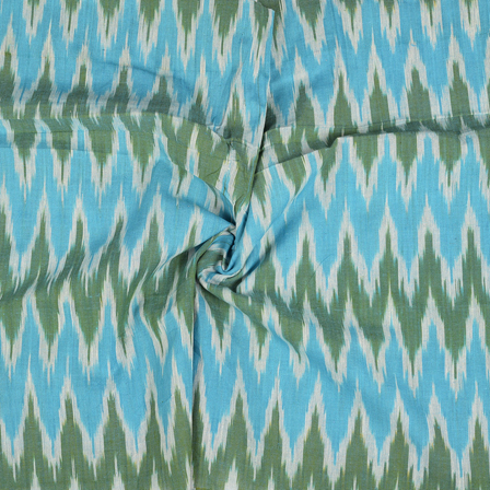 Blue-Green and White Zig Zag Ikat Cotton Fabric-12122