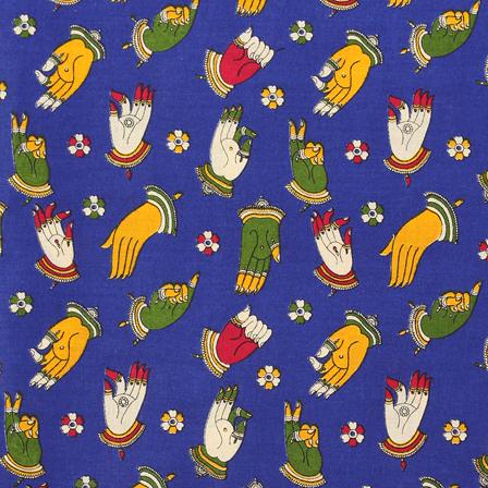 Blue-Green and Yellow Hand Mudra Design Kalamkari Cotton Fabric-10049