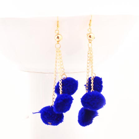 Blue Handcrafted Pom Pom Fabric Drop Earring for Women