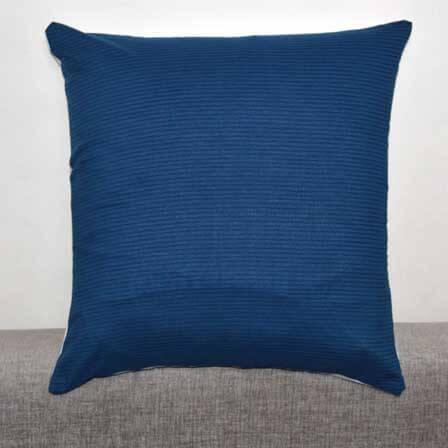 Blue Horizontan Stripes Indian Cotton Cushion Cover