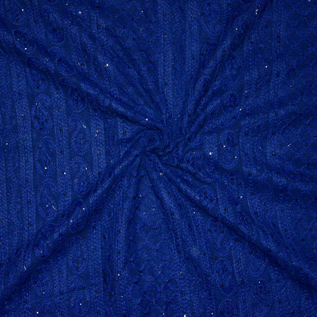 Blue Lakhanvi Chikan Work Georgette Embroidery Fabric-19371