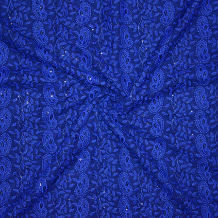 Blue Lakhanvi Chikan Work Georgette Embroidery Fabric-19379