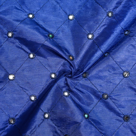 Blue Mirror Embroidery Silk Paper Fabric-18612