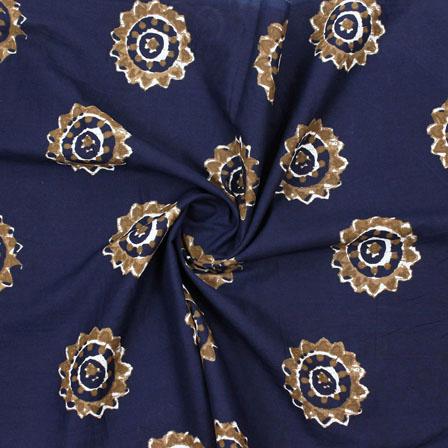 Blue Mustard Block Print Cotton Fabric-14877