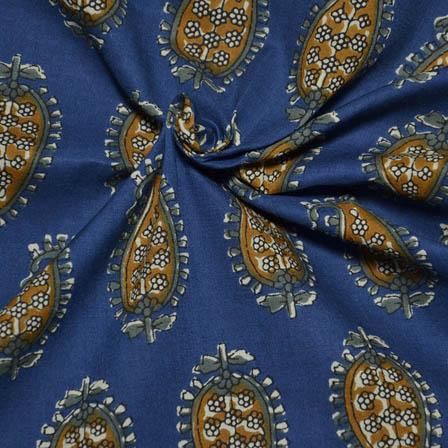 Blue-Mustard Yellow and Green Paisley Design Kalamkari Block Fabric-14031