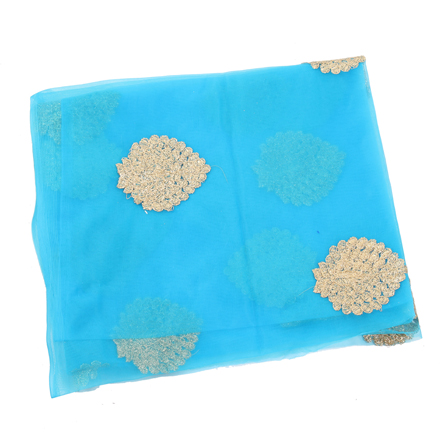 Blue Net Base Fabric With Golden Leaf Embroidery -60090