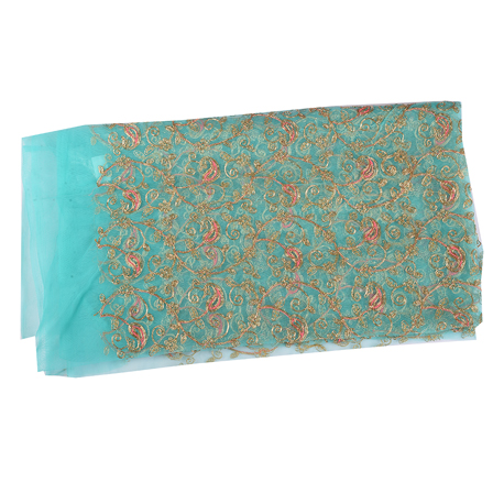 Blue Net Fabric With Golden Paisley Embroidery-60534