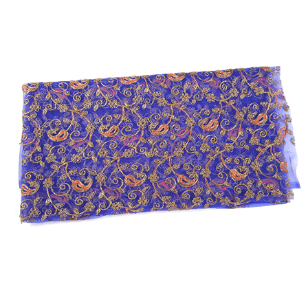 Blue Net Fabric With Golden Paisley Embroidery-60540