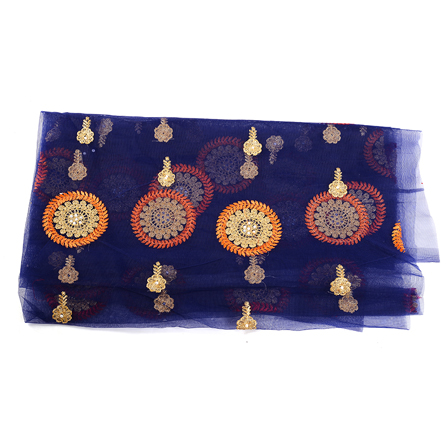 Blue Net Fabric With Golden and Orange Circular Embroidery-60526