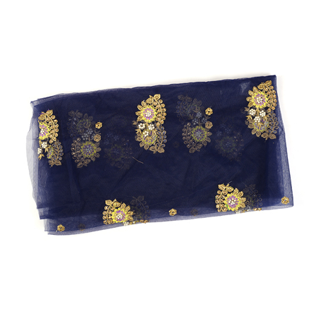 Blue Net Fabric With Golden and Yellow Flower Embroidery-60578