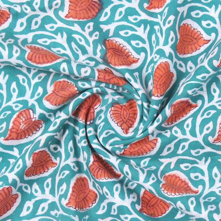 Blue Orange Block Print Cotton Fabric-16172
