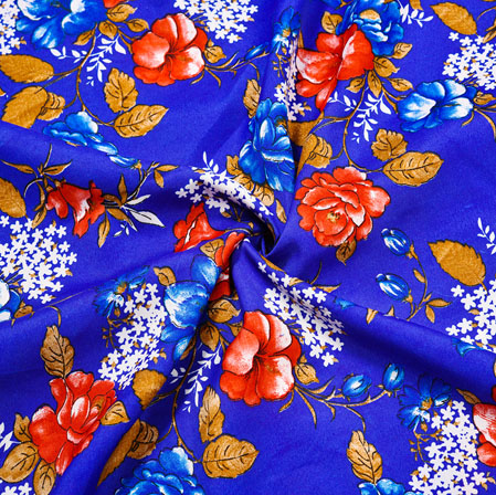 Blue Orange Floral Crepe Silk Fabric-41021