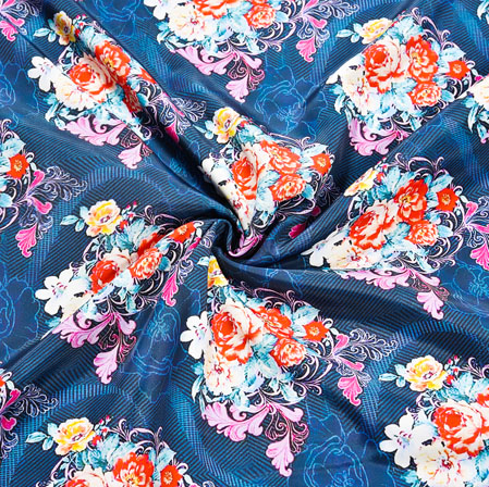 Blue Orange Floral Crepe Silk Fabric-41106