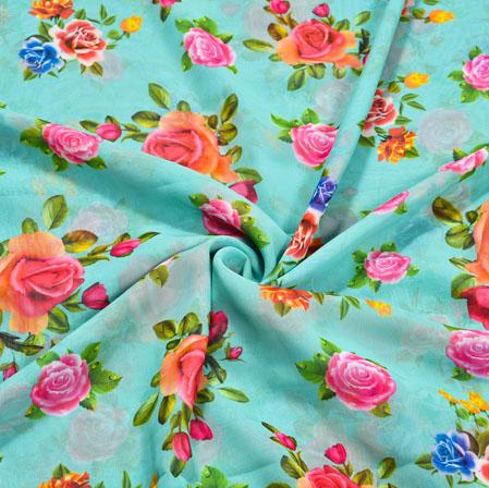 Blue Orange Floral Georgette Fabric-41129
