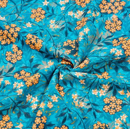 Blue Orange Floral Georgette Fabric-41136