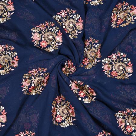 Blue Orange Flower Panel Work Georgette Embroidery Silk Fabric-19217