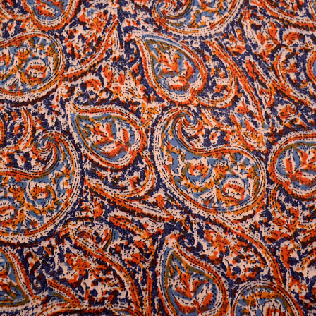 Blue-Orange and Beige Paisley pattern Kalamkari-Screen Fabric-5491