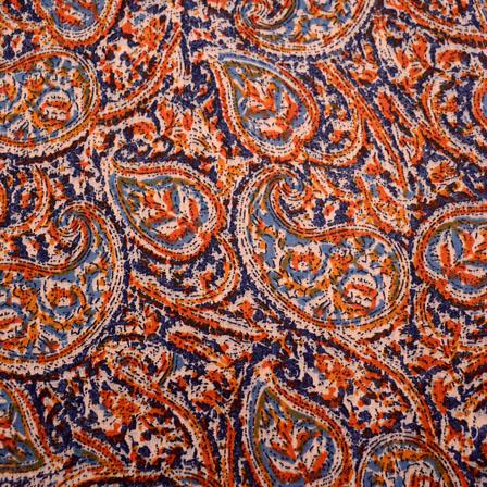 Buy Blue-Orange and Beige Paisley pattern Kalamkari-Screen Fabric-5491