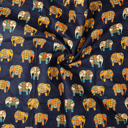 Blue-Orange and Cream Elephant Cotton Kalamkari Fabric-10102