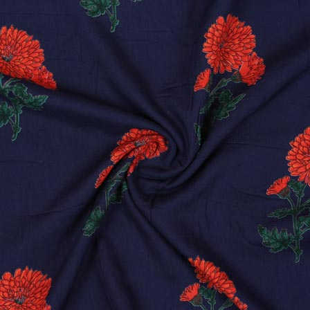 Blue Orange and Green Block Print Rayon Fabric-14917