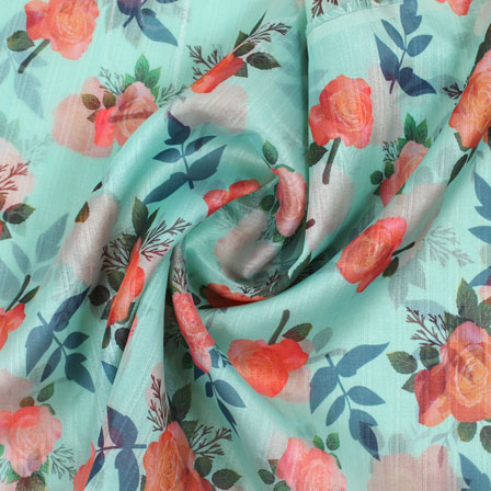 Blue Orange and Green Organza Digital Silk Fabric-51484