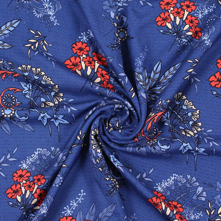 Blue Orange and White Flower Rayon Fabric-15072