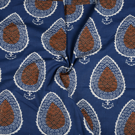 Blue-Orange and White Leaf Pattern Cotton Block Print Fabric-14483