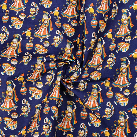 Blue-Orange and Yellow Cotton Kalamkari Fabric-10130