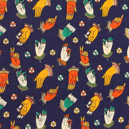 Blue-Orange and Yellow Hand Mudra Design Cotton Kalamkari Fabric-10044
