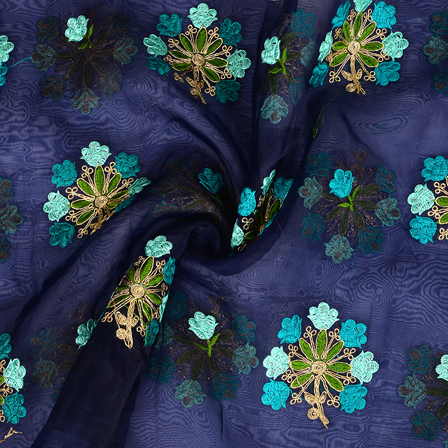 Blue Organza Fabric With Golden and Green Flower Embroidery-50091
