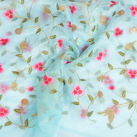 Blue Organza Fabric With Golden and Pink Flower Embroidery-51062