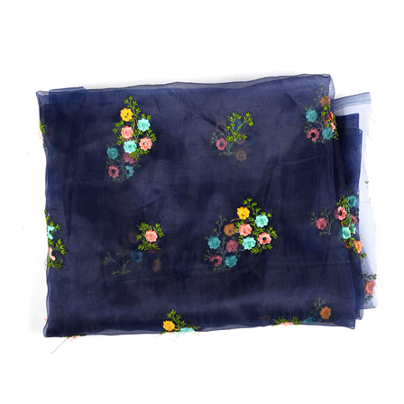 Blue Organza Fabric With Green and Yellow Flower Embroidery-51271