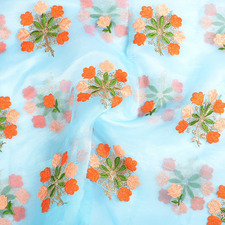 Blue Organza Fabric With Orange and Green Floral Embroidery-51115